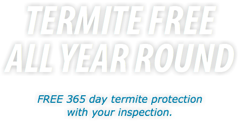 TERMITE FREE ALL YEAR ROUND FREE 365 day termite protection with your inspection.